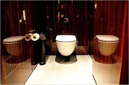 Exuding 1920s cruise ship glamour, the guest bathrooms and washrooms in the Mondrian London at Sea Containers have been fitted with Laufen sanitaryware. #washrooms #interiordesign #hotel #design