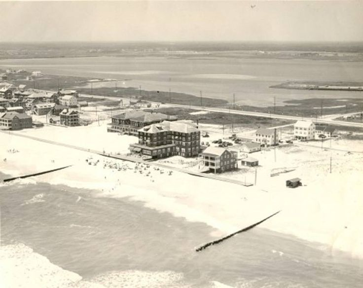 The Commander Hotel is shown standing ocean front in the sparsely populated area of Fourteenth Street. Only a few people ventured past this point until the mid-fifties. The Boardwalk was extended to Twenty-Sixth Street in 1950. (Ocean City Museum Society)