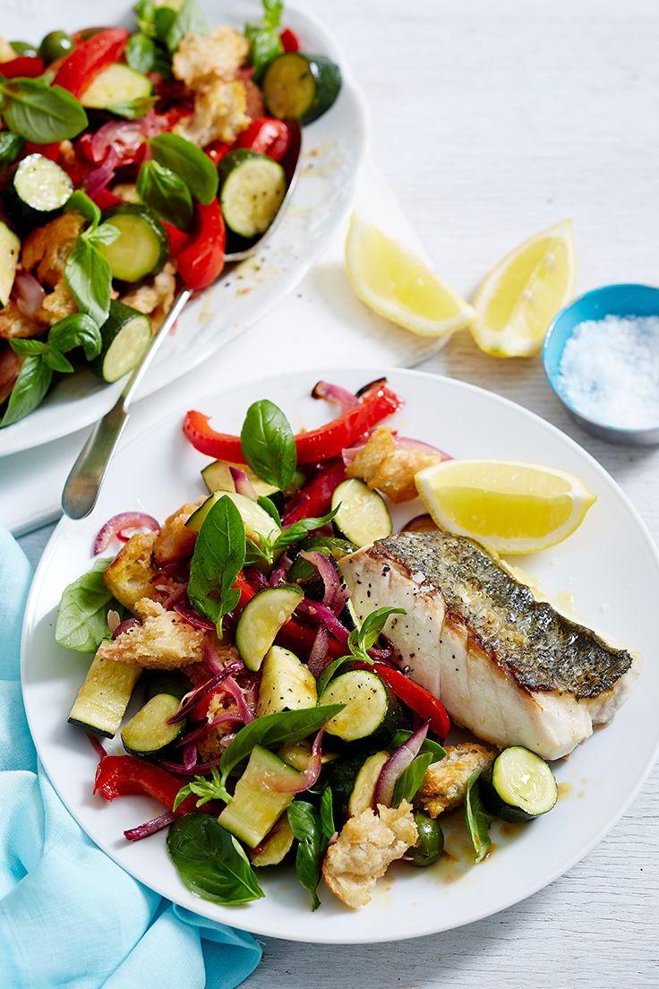 A fabulous fish dish with a grilled veggie salad, this budget-friendly recipe is perfect for summer.
