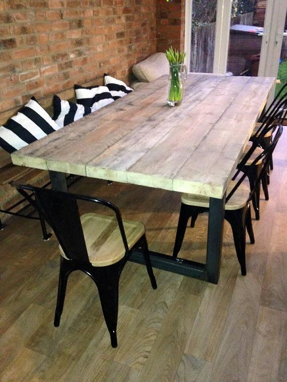 reclaimed industrial chic 10 12 seater solid wood and metal dining tablecafe bar restaurant furniture steel and wood made to measure 470. Interior Design Ideas. Home Design Ideas