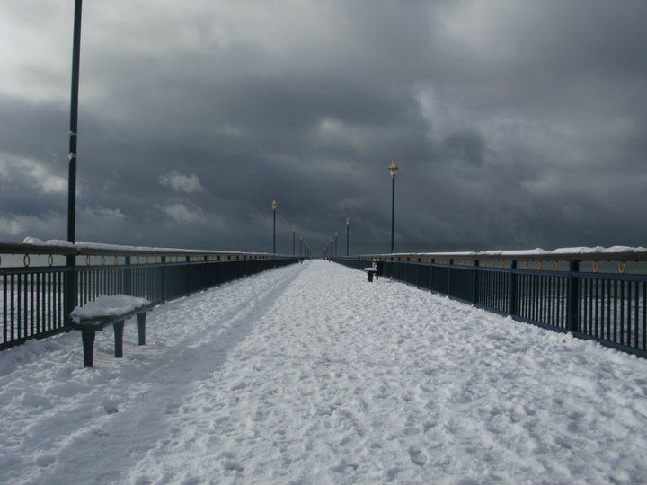 snow on the pier