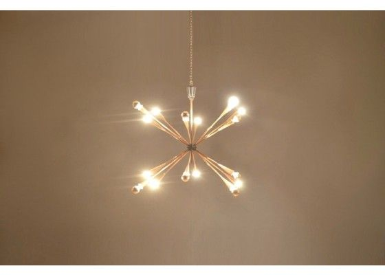 Großer Französischer Mid Century Sputnik Kronleuchter aus zweifarbigem Messing - Kronleuchter - Beleuchtung - Produkte