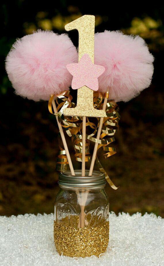 #1 pompones, centró de mesa Blanco, dorado oro y rosa