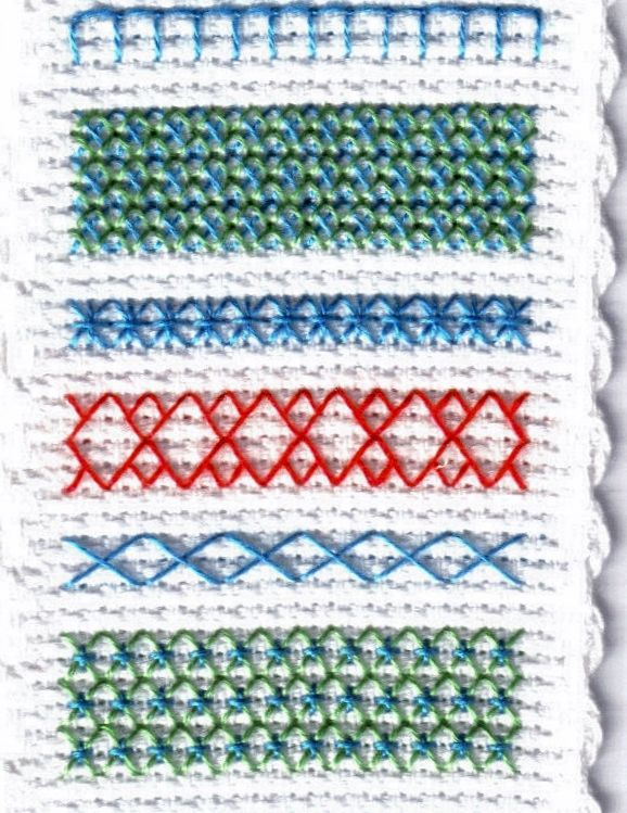 Free Band Sampler Bookmark Cross Stitch and Cross Stitch Variation Chart: Stitched Model of Free Band Sampler Bookmark Chart - Part One