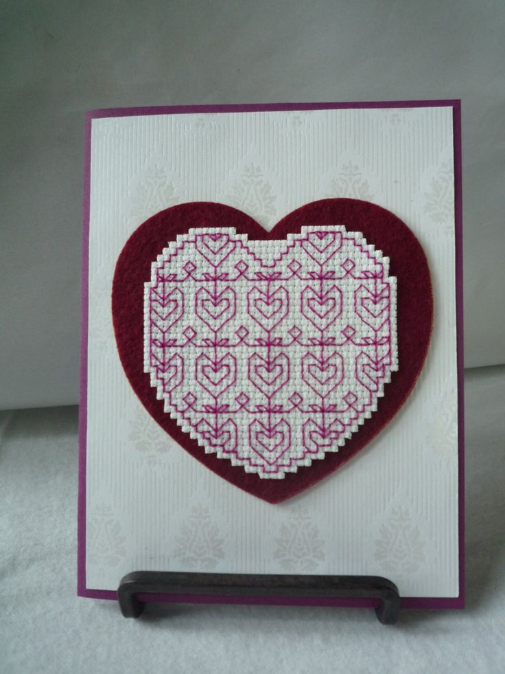 Heart Shaped Flowers Hand Stitched Card by HMCrafters on Etsy