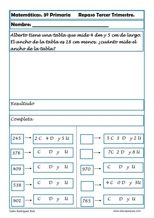 Fichas de matemáticas tercero primaria