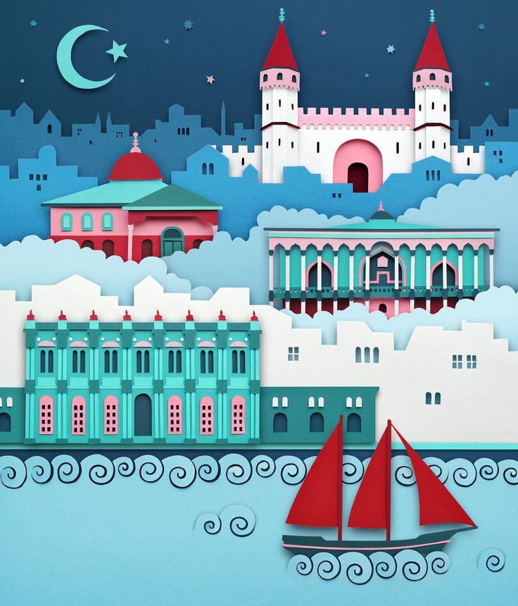 Cover artwork for Shop magazine's Istanbul issue by Owen Gildersleeve 우선 색감이 너무 이쁘다. 파란색의 메인컬러와 초록색의 서브컬러, 빨간색의 포인트 컬러가 논에 들어온다. 종이 공예 커팅 일러스트 by. Owen Gildersleeve