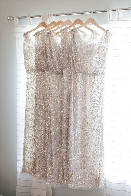 Sequined bridesmaid dresses are a great way to add shimmer to a wedding.
