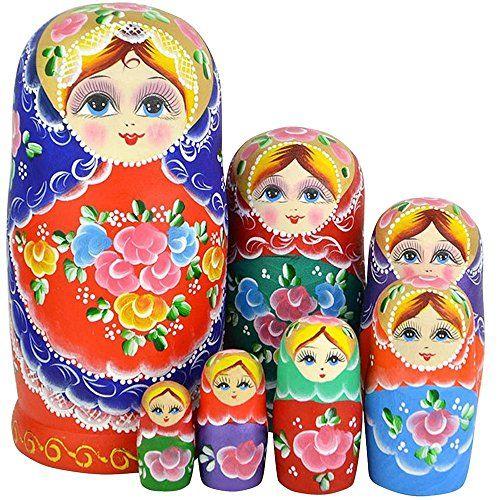 Leegoal New Set of 7pc Nesting Dolls Authentic Russian Wooden Matryoshka Birthday Gifts