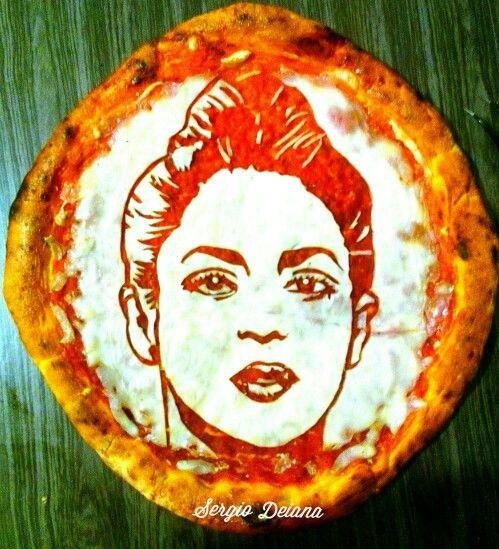 Shakira pizza art by Sergio Deiana