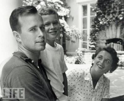 George W. Bush, 9 Years Old, With His Mother and Father, 1955