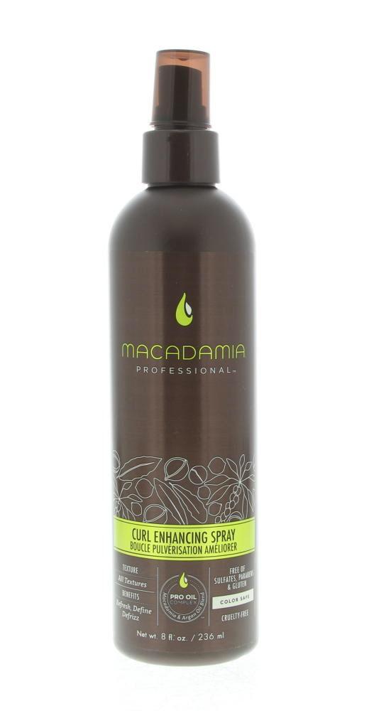 Macadamia Styling Curl Enhancing Spray 236ml  Description: Macadamia Curl Enhancing Spray.De Macadamia Professional Curl Enhancing Spray is ontwikkeld voor krullend haar. De spray defninieert reactiveert en zorgt voor mooi en gezond haar. Dankzij de Macadamia-olie Arganolie en Saffloerolie blijven de krullen sterk flexibel en gaan niet pluizen. De spray laat de krullen glanzen. Tevens wordt vocht toegevoegd aan het haar en geeft de krullen een goede body.Gebruik: De spray kan worden gebruikt…