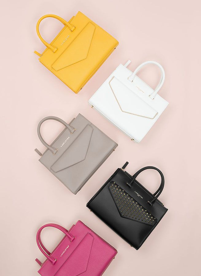 Handbags, different materials and colors, Lancaster Paris. #handbag #bag #sac #sacamain #colors #pastel #spring #adeline #pearl #studs #pink #leather #accessory #fashion #lancaster #lancasterparis