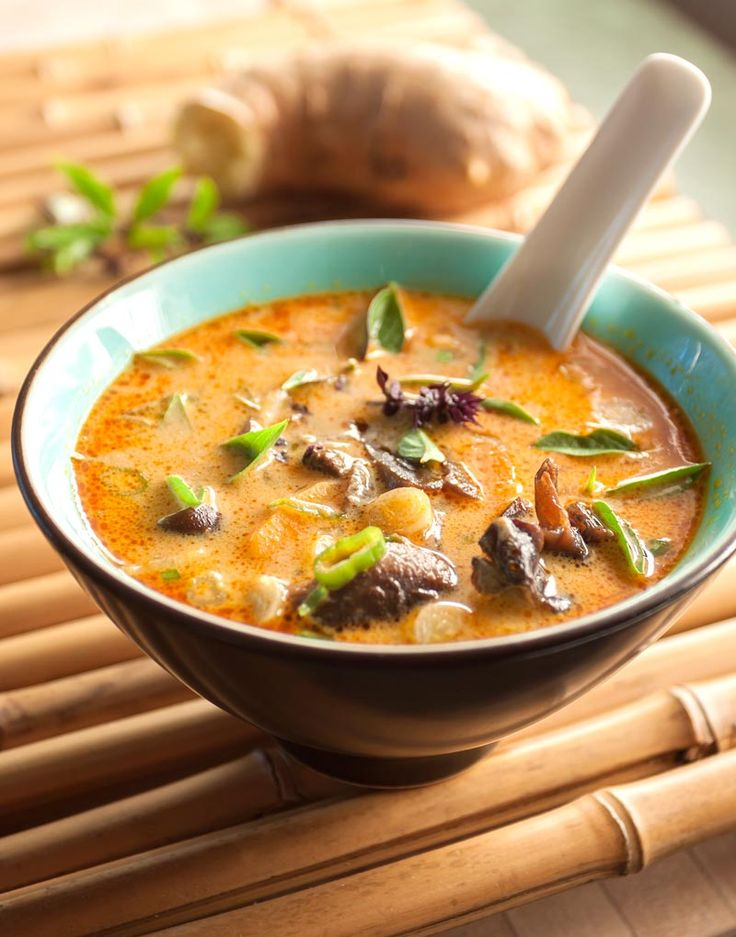 Thai Mushroom & Coconut Soup. This rich and satisfying soup starts with a mixture of dried mushrooms typical of Asian cooking – shiitakes, with their deep and distinctive woodsy flavor; oyster mushrooms, with a light buttery taste that goes well with everything; lastly, woodear mushrooms, which have very little flavor at all, but which contribute a wonderfully crunchy texture.