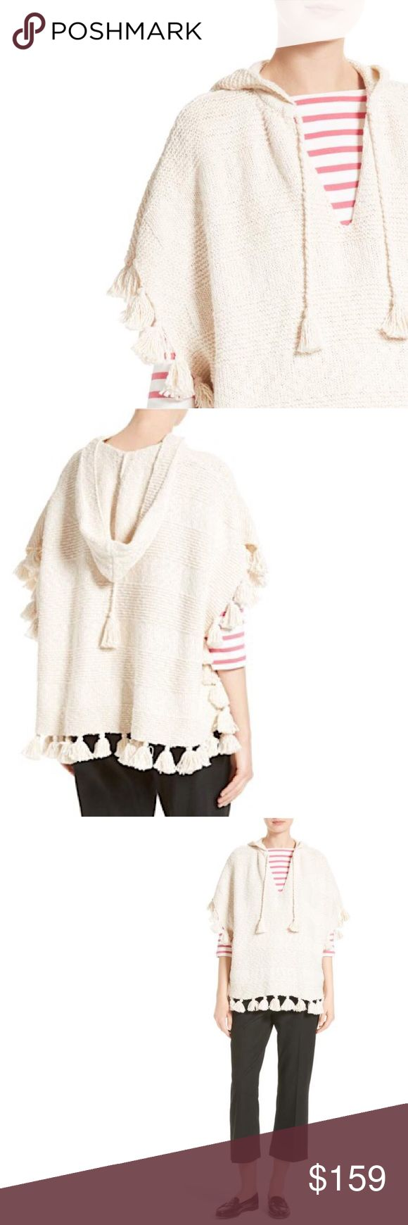 """🆕💕 Kate Spade Tassel poncho Cape NWT Beautiful Kate Spade chunky tassels enhance the richly textured design of a hooded cotton knit poncho for a playful layers piece. NWT 💕tie at V- neck  💕short sleeves 💕attached hood 💕length 27"""" tassels 2"""" kate spade Jackets & Coats Capes"""