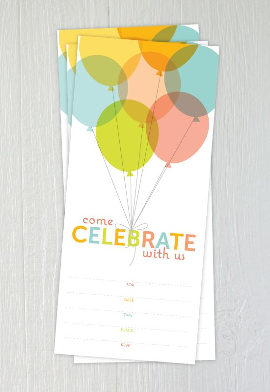 free printable: pastel balloons party invitation  {One Charming Party}