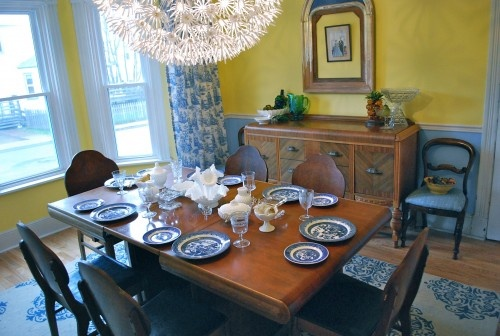 Blue and yellow dining room willow dishes but want to see - Yellow and blue dining room ...