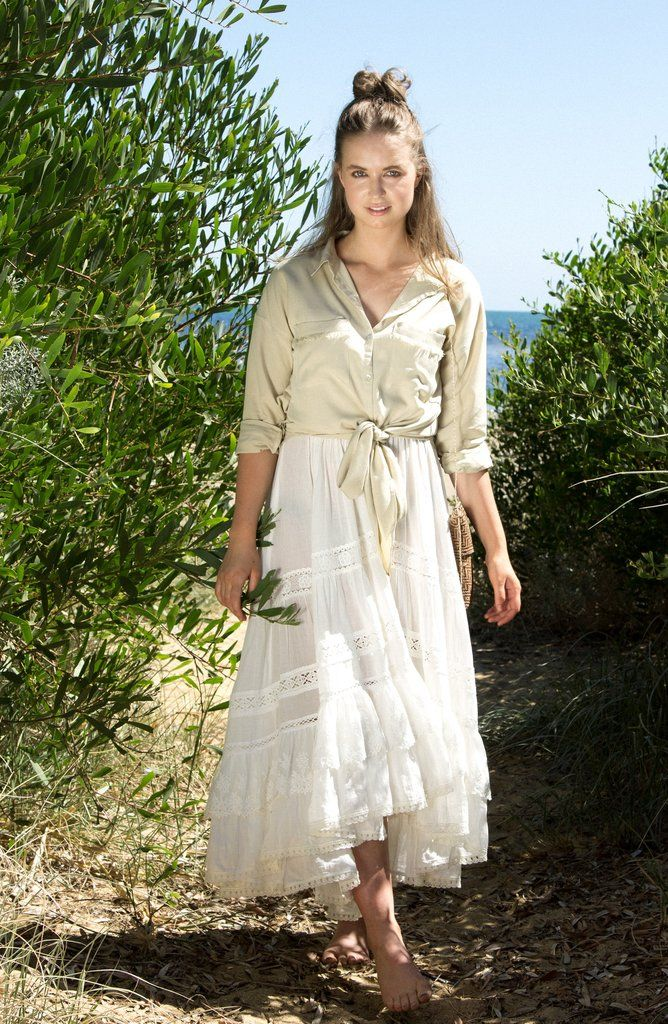 The Knot Top - Sandy Beige - is the staple of knotted shirts. Made in a flattering rayon fabric, it features fringed details on pockets and back... Made with love in Bali. | Paired with Spell Designs Byron Bay dress