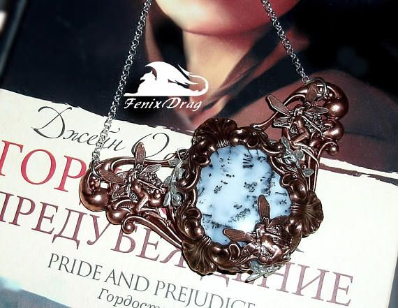 Pendant necklace Winter tale with dendrite opal