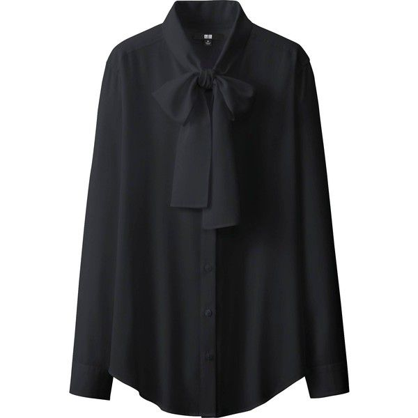 UNIQLO Silk Touch Bow Tie Long Sleeve Blouse ($12) ❤ liked on Polyvore featuring tops, blouses, shirts, black, evening blouses, long-sleeve shirt, silk evening blouses, evening tops and long sleeve shirts