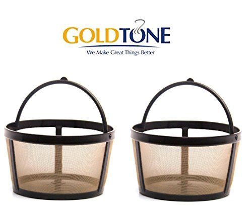 [2 Pack] GoldTone Reusable 4 Cup Basket Mr. Coffee Replacment Coffee Filter - Mr. Coffee Permanent Coffee Filter for Mr. Coffee Maker and Brewer [2 Pack]