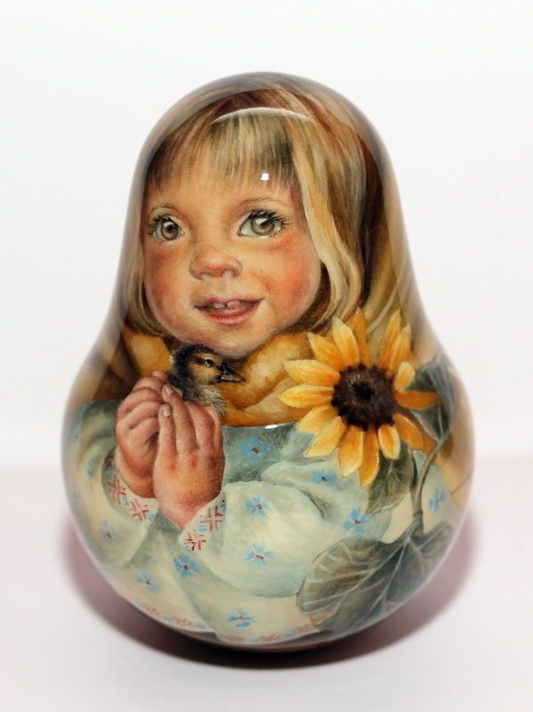 1 Kind Painting Roly Poly Nesting Matryoshka Russian Author Doll Sunflower Baby | eBay