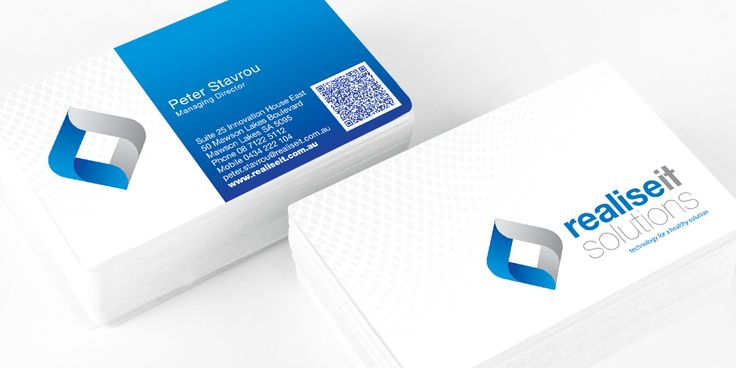 Realise IT business card design and print managed by Icon Graphic Design Adelaide.