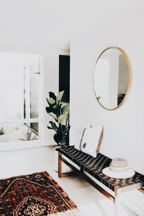 Boho Eclectic Front Room, Round Gold Mirror, Bench With Black And White  Cushion, Area Rug