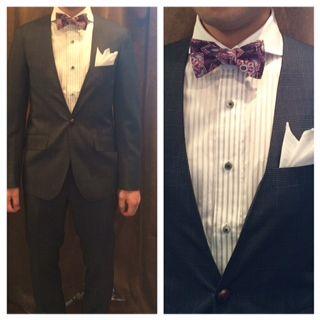 suit:ネイビーグレンチェックノーカラー shirt:白ベースストライプ bowtie:パープル花柄  #新郎#カジュアルウエディング