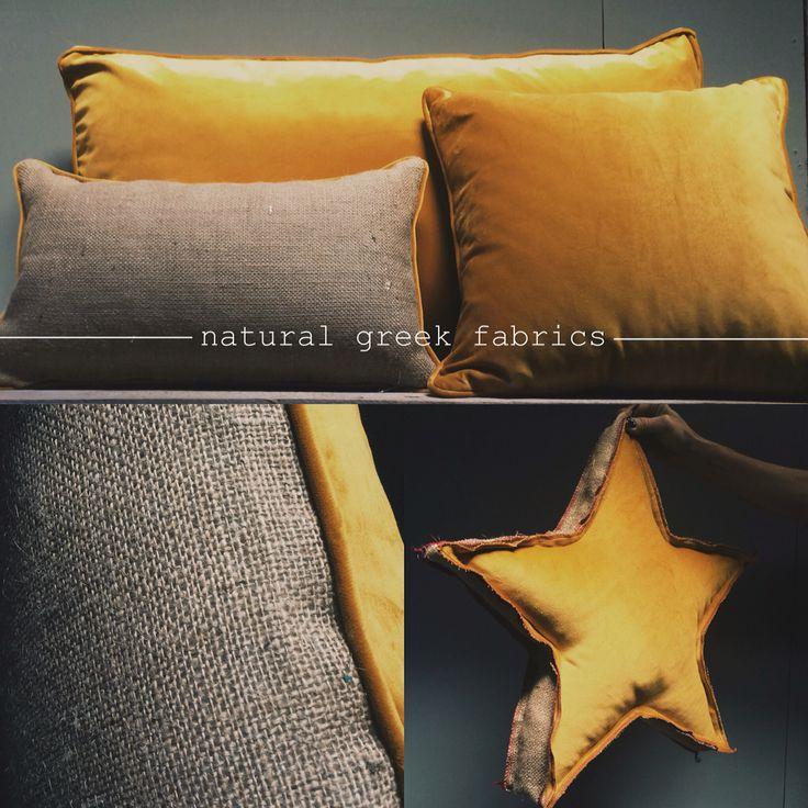 Curry velvet & yuta Pillows & Christmas decoration  www.naturalgreekfabrics.com
