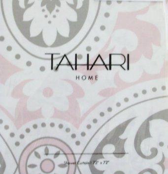 Tahari Tile Medallion Pale Pink Grey U0026 White Fabric Shower Curtain