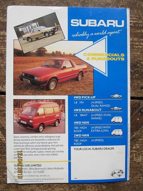 Page from British Subaru BRAT Sales Brochure dated 1986