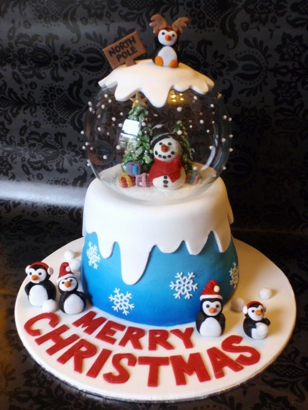 OMG - Sandra, make this....cutest Christmas cake idea.  she used a glass rose bowl as the globe and rolled fondant to ice and decorate everything