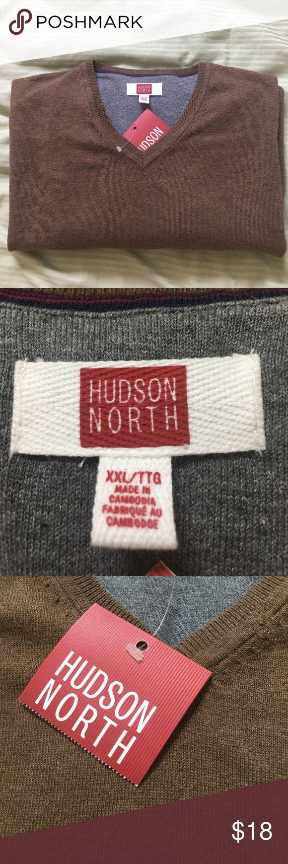 Mens V neck sweater Color is bronze heather, 70% cotton, 30% nylon, machine wash Hudson North Sweaters V-Neck