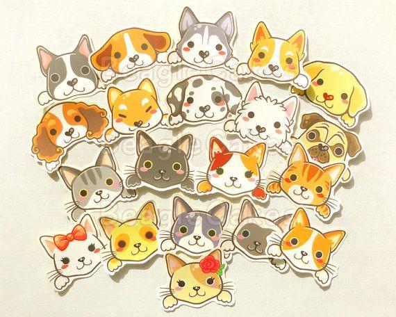 Kat en hond Stickers. Kawaii Stickers. Dieren Stickers.