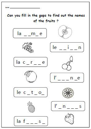 FRENCH FRUIT WORKSHEET-Primary Printable KS1 by YippeeLearning