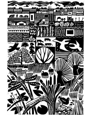 Fenlife Linocut by Carry Akroyd