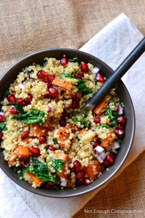 A healthy, delicious and comforting quinoa salad with sweet potato, kale and pomegranate. A winter favorite! Vegan and naturally gluten free | Find the recipe on NotEnoughCinnamon.com