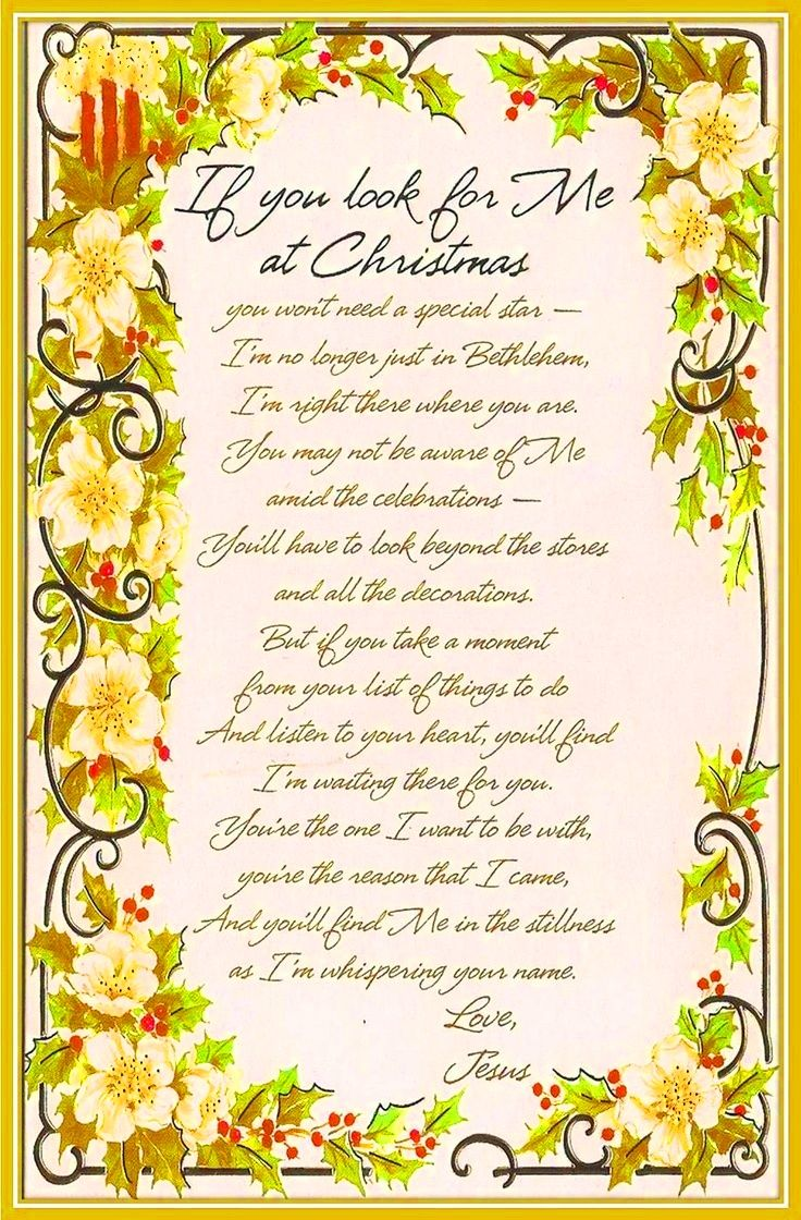 Christmas poems for church programs -  If You Look For Me At Christmas You Won T Need