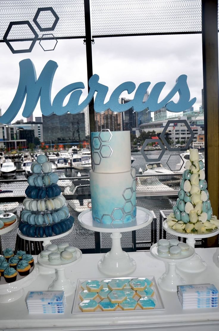 Our waterfront views complimenting this amazing setup by the talented @sugarcoatedcandydessertbuffets  Theme: Blue & Silver hexagon