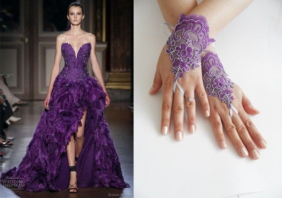 Fingerless gloves for Bridesmaids, French lace gloves, Bridal accessories, purple gloves,  Free ship