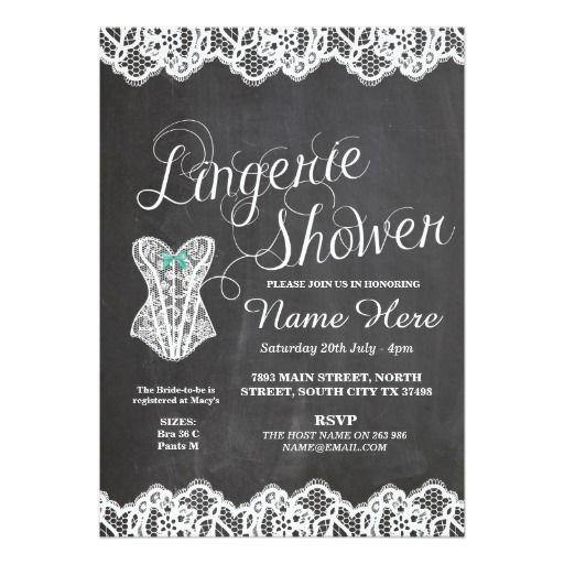 Lingerie Shower Bridal Party Corset Chalk Invite