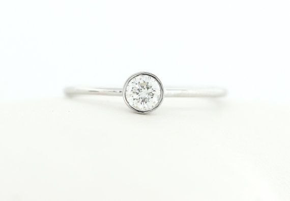 Round Brillaint Cut Diamond Engagement Ring, White Gold Thin Dainty Bezel Set Engagement Ring, Stacking Gold Diamond Ring