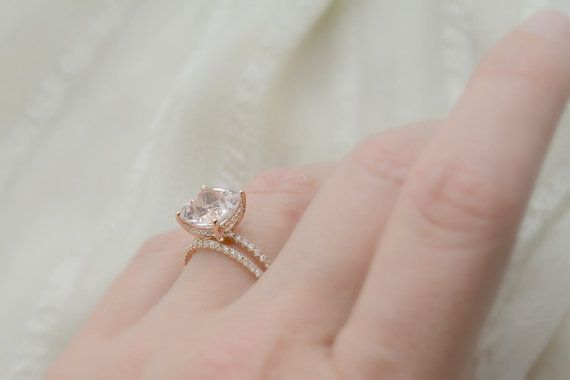 3.80 Ct. Cushion Cut Morganite & Diamond Engagement by AnyeJewelry