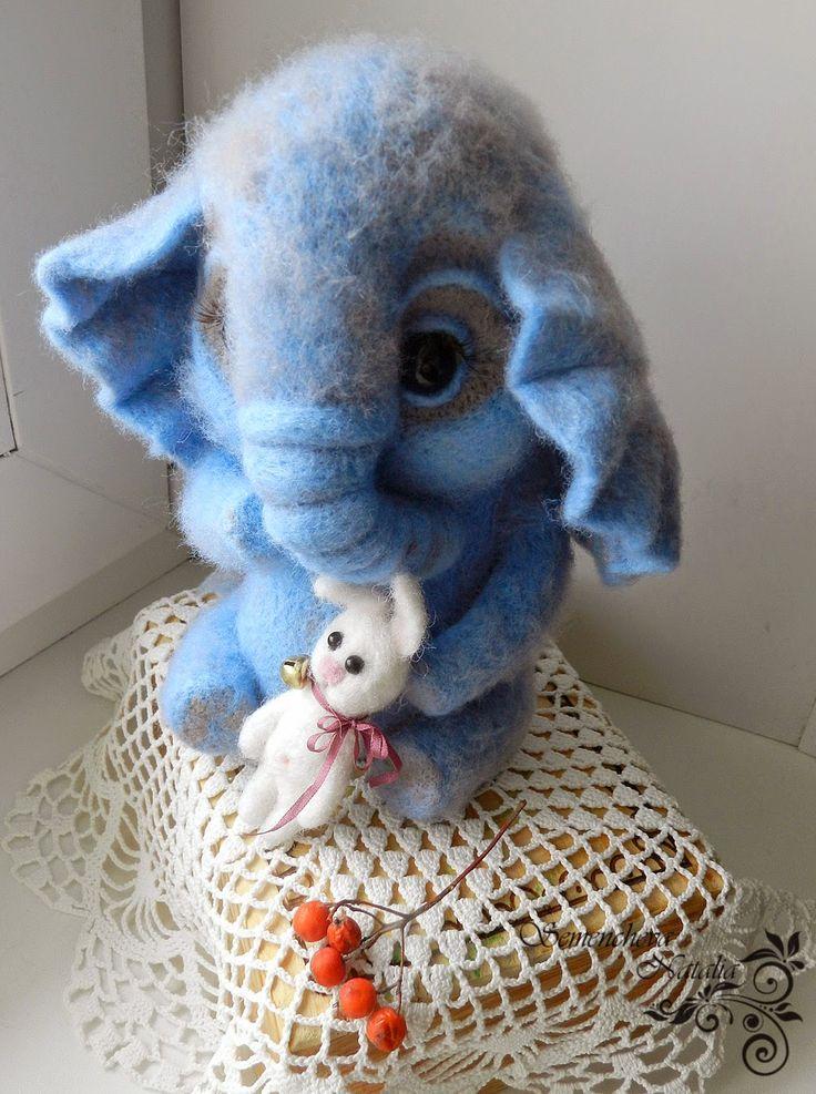 слоненок из шерсти, felting, валяние, валяная игрушка, игрушка из шерсти, игрушка из войлока