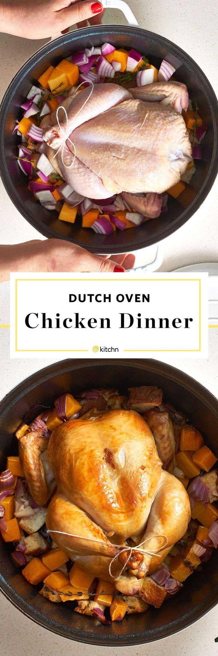 A Whole Roasted / Baked Chicken Dinner in a Dutch Ovens. Looking for easy recipes and ideas for classic comfort foods? Here's how to make a one pot or one dish dinner, including veggies or vegetables for side dishes or sides.