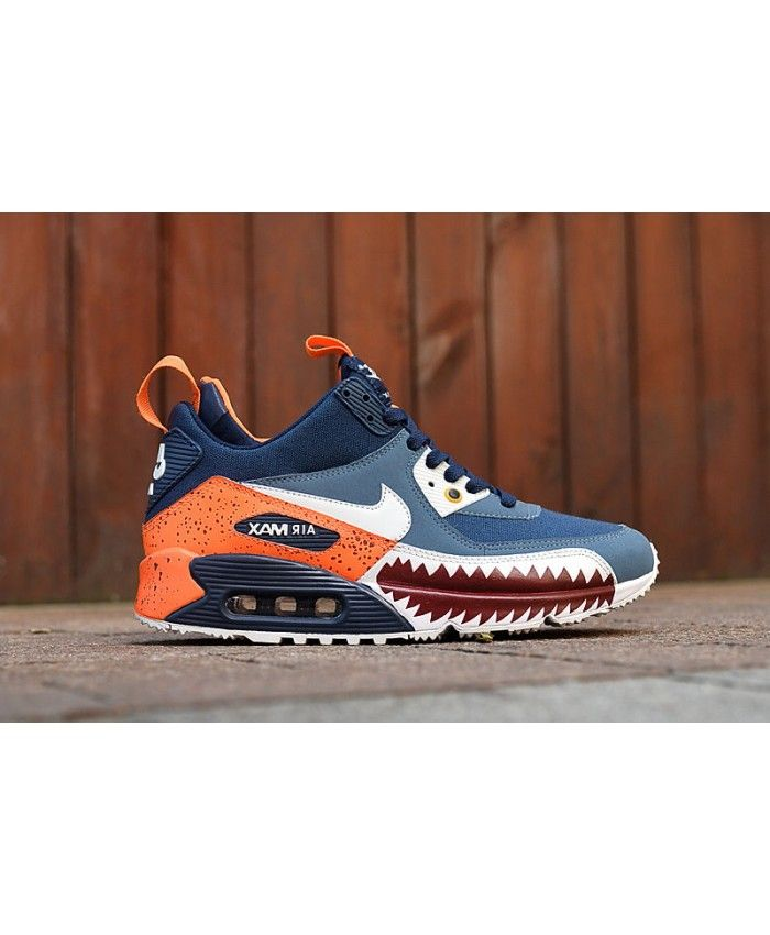 new style 60a59 424d1 Nike Air Max 90 Mid Sneakerboot Winter Shark Teeth Blue Orange Sale  Clearance
