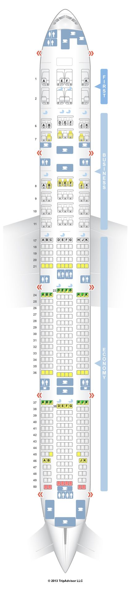 SeatGuru Seat Map Emirates Boeing 777-300ER (77W) Three Class V2