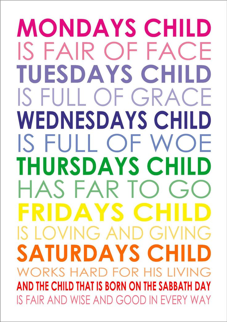 Mondays Child Is Fair of Face Baby Nursery Rhyme Poem Quote A4 Poster Print | eBay
