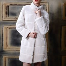 S-4XL Bayan Kürk Ceket Sahte Kürk Mantolar Kış Artı Boyutu Mandarin Yaka Vintage Yapay Vizon Siyah Beyaz Sahte uzun ceket giymek(China (Mainland))